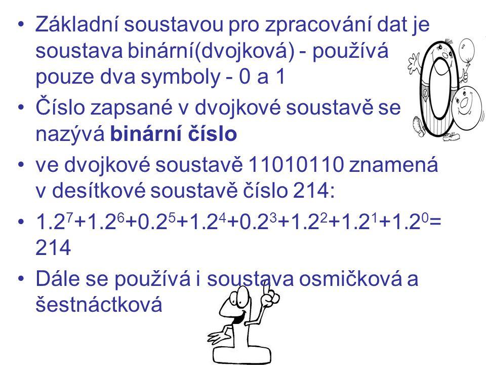 Základní soustavou pro zpracování dat je soustava binární(dvojková) - používá pouze dva symboly - 0 a 1