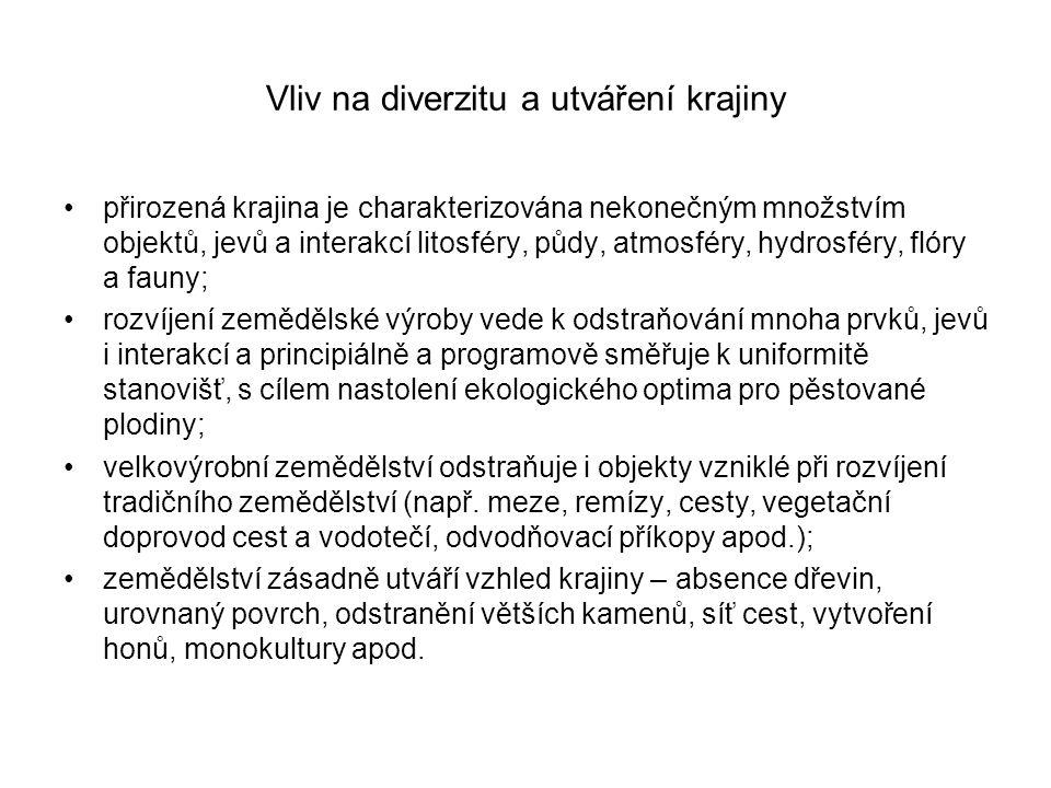 Vliv na diverzitu a utváření krajiny