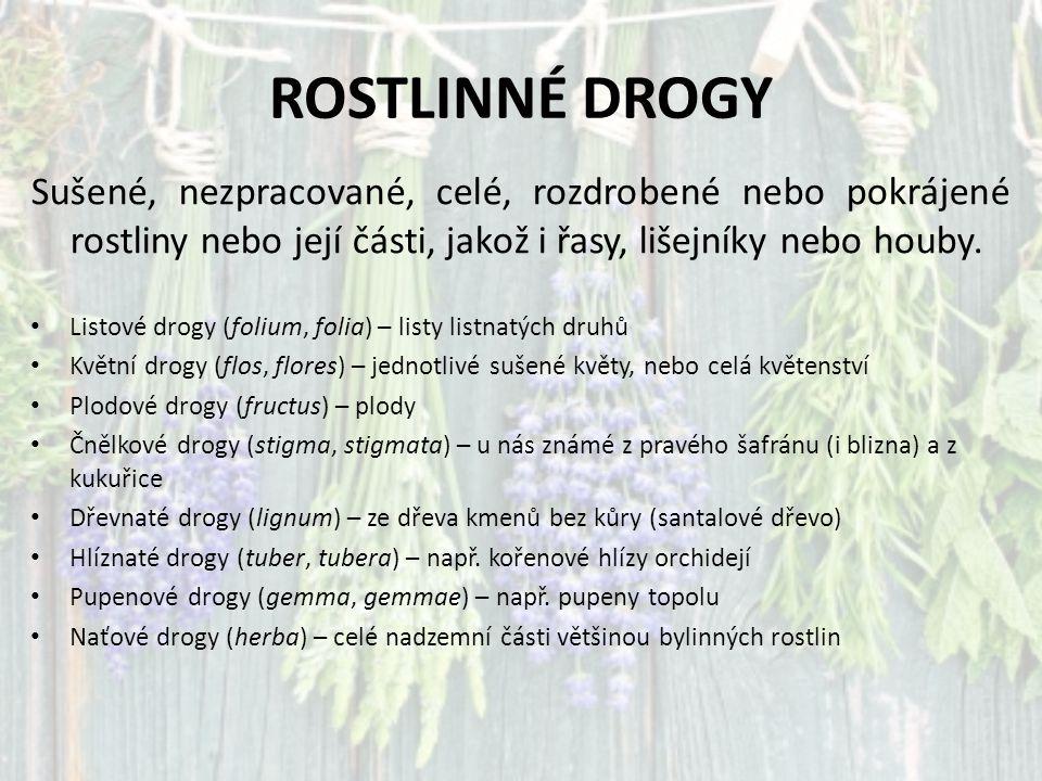 ROSTLINNÉ DROGY Sušené, nezpracované, celé, rozdrobené nebo pokrájené rostliny nebo její části, jakož i řasy, lišejníky nebo houby.