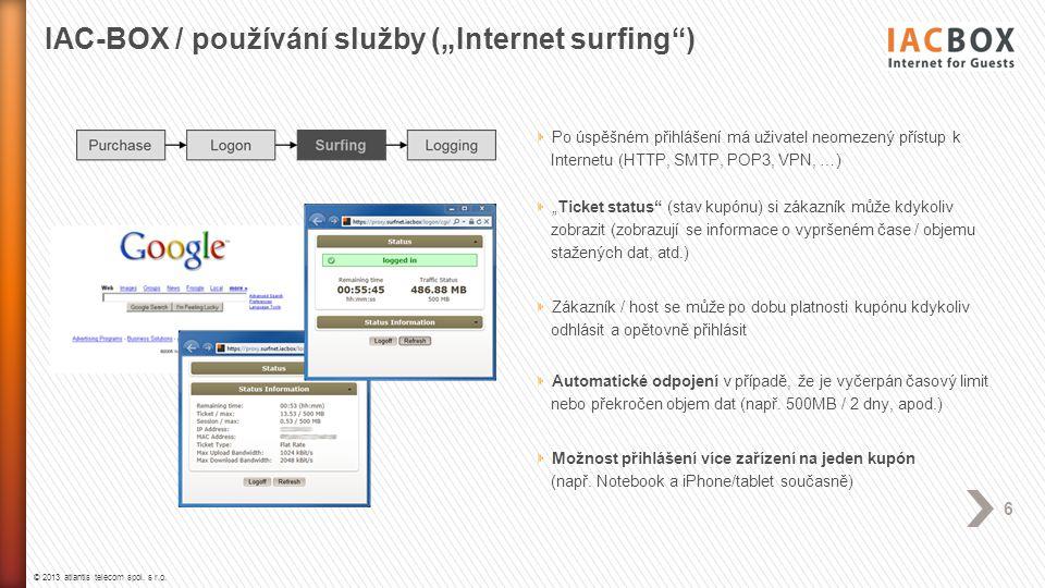 """IAC-BOX / používání služby (""""Internet surfing )"""
