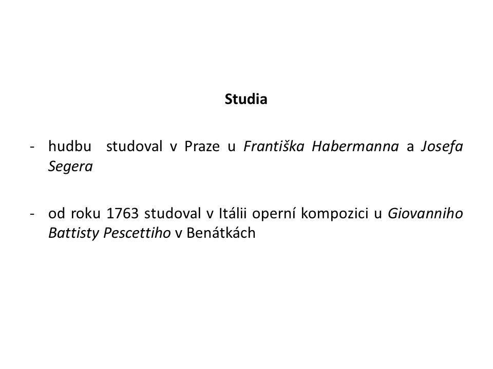 Studia hudbu studoval v Praze u Františka Habermanna a Josefa Segera.