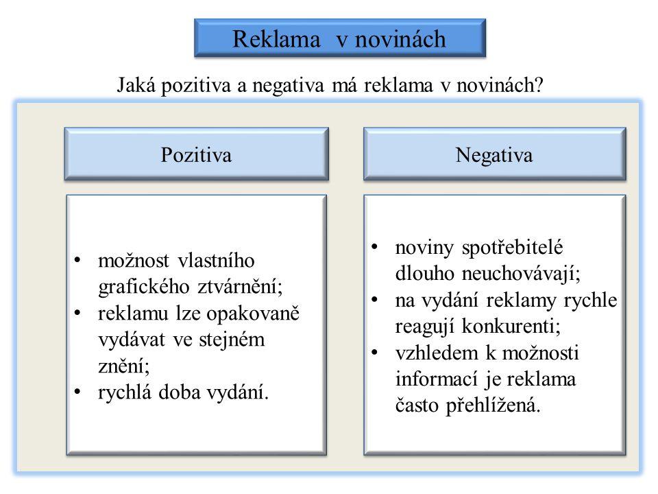 Jaká pozitiva a negativa má reklama v novinách