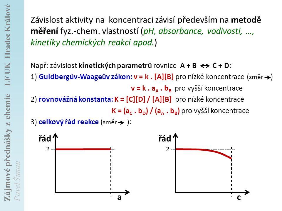 Závislost aktivity na koncentraci závisí především na metodě měření fyz.-chem. vlastností (pH, absorbance, vodivosti, …, kinetiky chemických reakcí apod.)