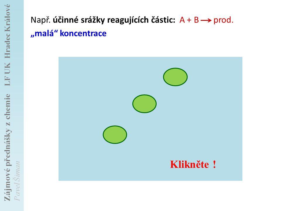 """Např. účinné srážky reagujících částic: A + B prod. """"malá koncentrace"""