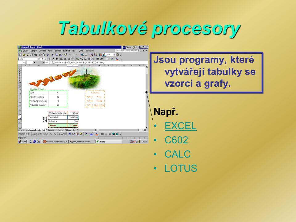 Tabulkové procesory Jsou programy, které vytvářejí tabulky se vzorci a grafy. Např. EXCEL. C602.