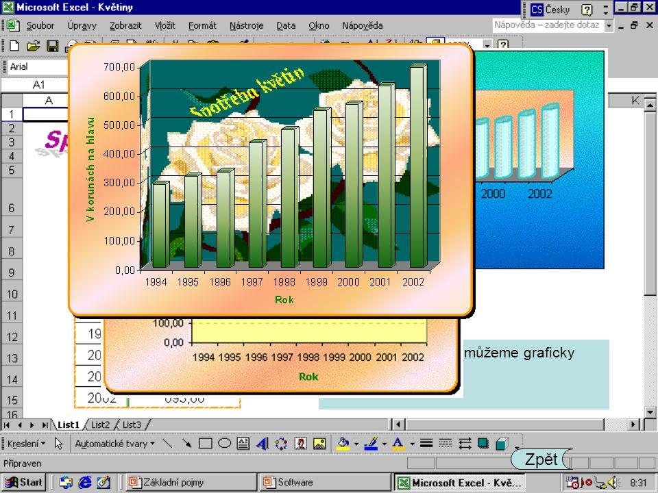 Tabulky s hodnotami můžeme graficky zpracovávat.