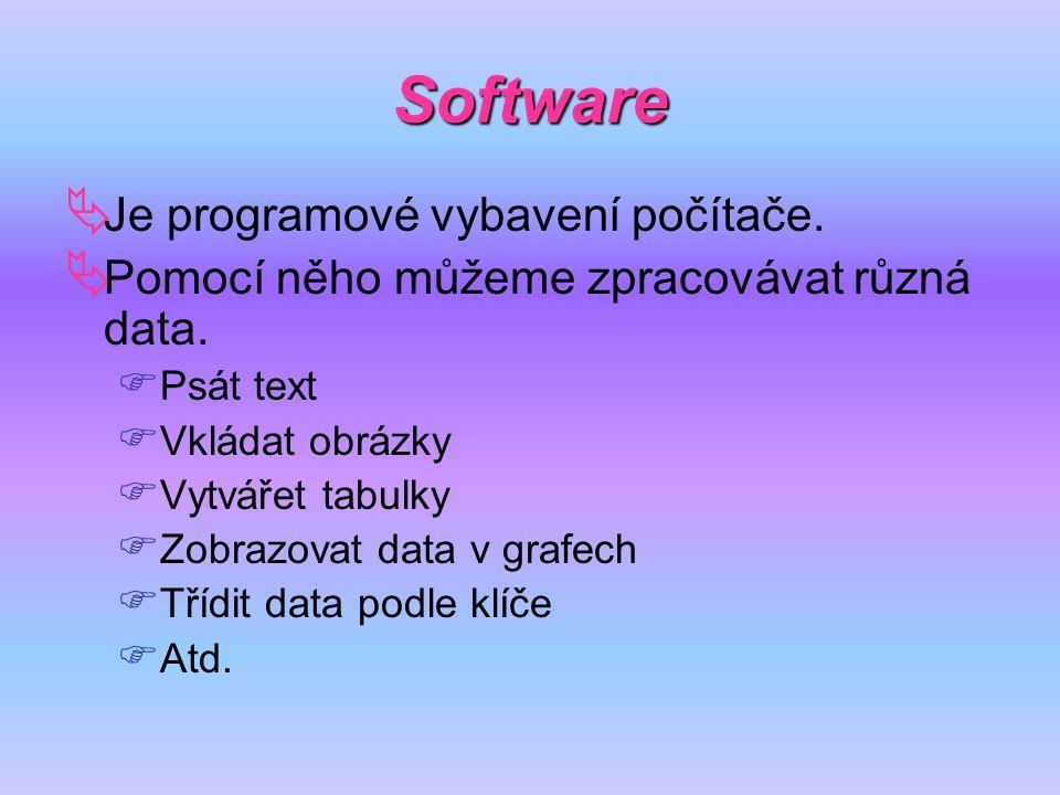 Software Je programové vybavení počítače.