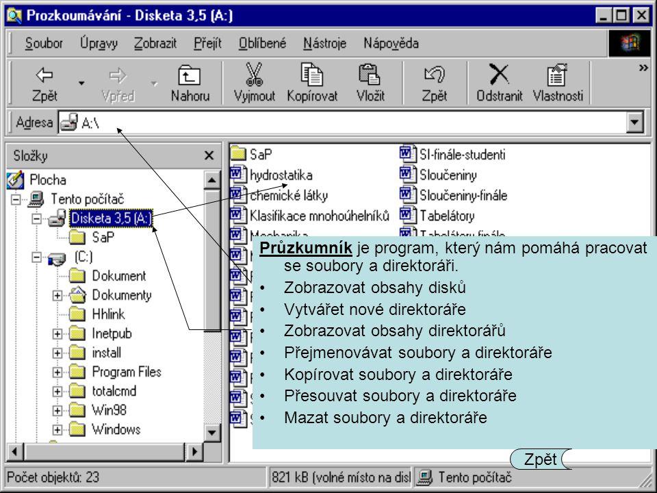 Průzkumník je program, který nám pomáhá pracovat se soubory a direktoráři.