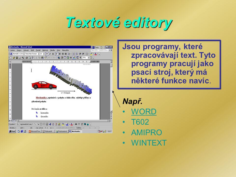 Textové editory Jsou programy, které zpracovávají text. Tyto programy pracují jako psací stroj, který má některé funkce navíc.