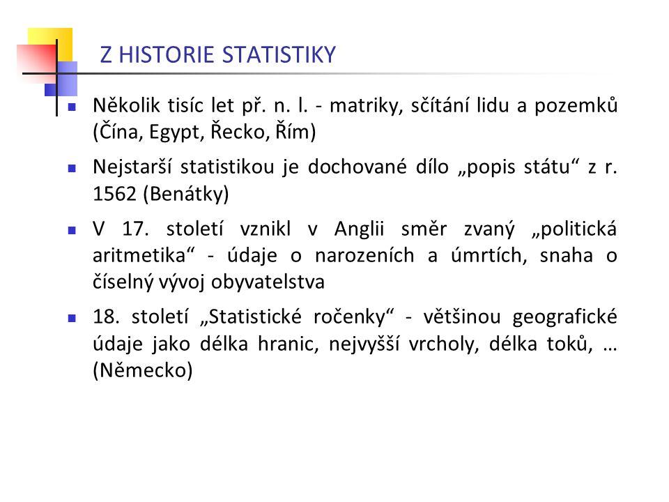 Z HISTORIE STATISTIKY Několik tisíc let př. n. l. - matriky, sčítání lidu a pozemků (Čína, Egypt, Řecko, Řím)