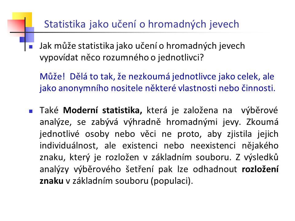 Statistika jako učení o hromadných jevech