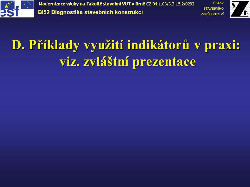 D. Příklady využití indikátorů v praxi: viz. zvláštní prezentace