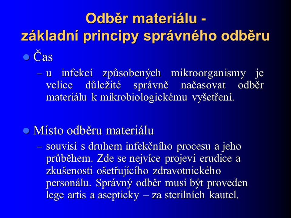 Odběr materiálu - základní principy správného odběru