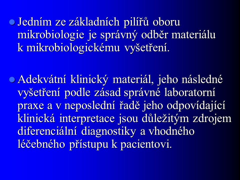 Jedním ze základních pilířů oboru mikrobiologie je správný odběr materiálu k mikrobiologickému vyšetření.