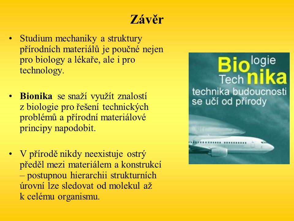 Závěr Studium mechaniky a struktury přírodních materiálů je poučné nejen pro biology a lékaře, ale i pro technology.