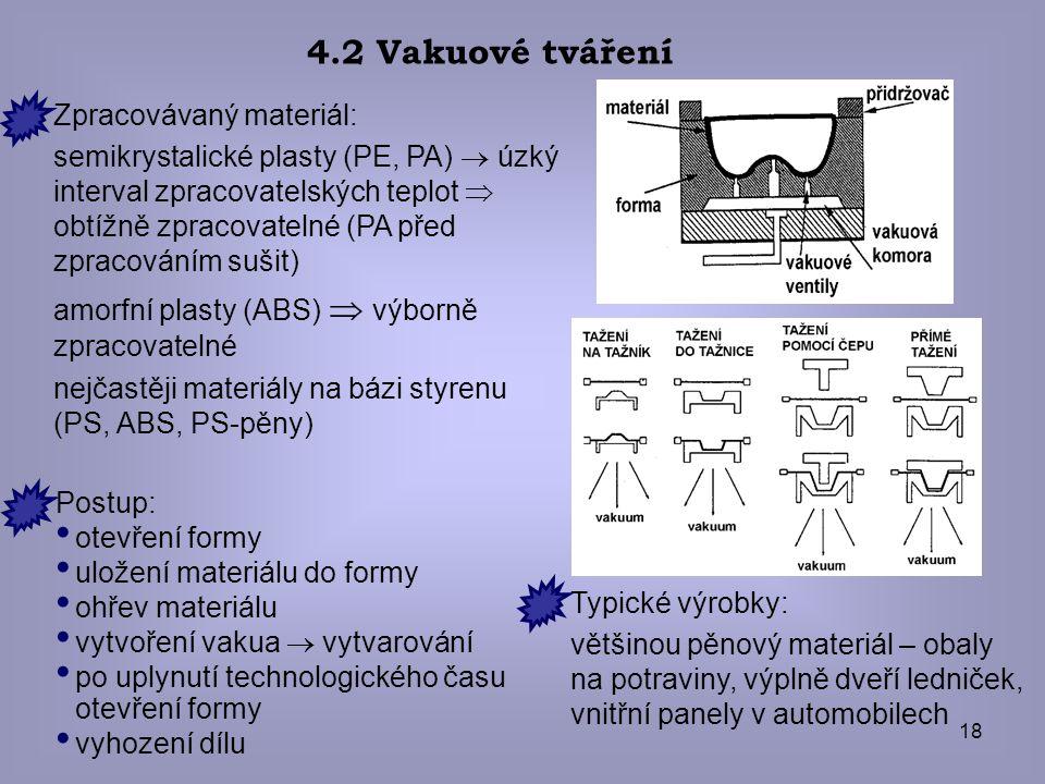 4.2 Vakuové tváření Zpracovávaný materiál: