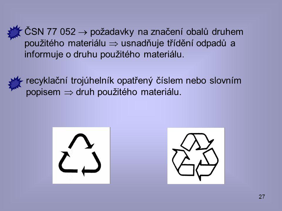 ČSN 77 052  požadavky na značení obalů druhem použitého materiálu  usnadňuje třídění odpadů a informuje o druhu použitého materiálu.