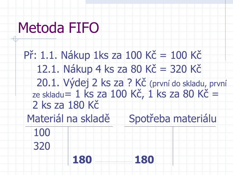 Metoda FIFO Př: 1.1. Nákup 1ks za 100 Kč = 100 Kč