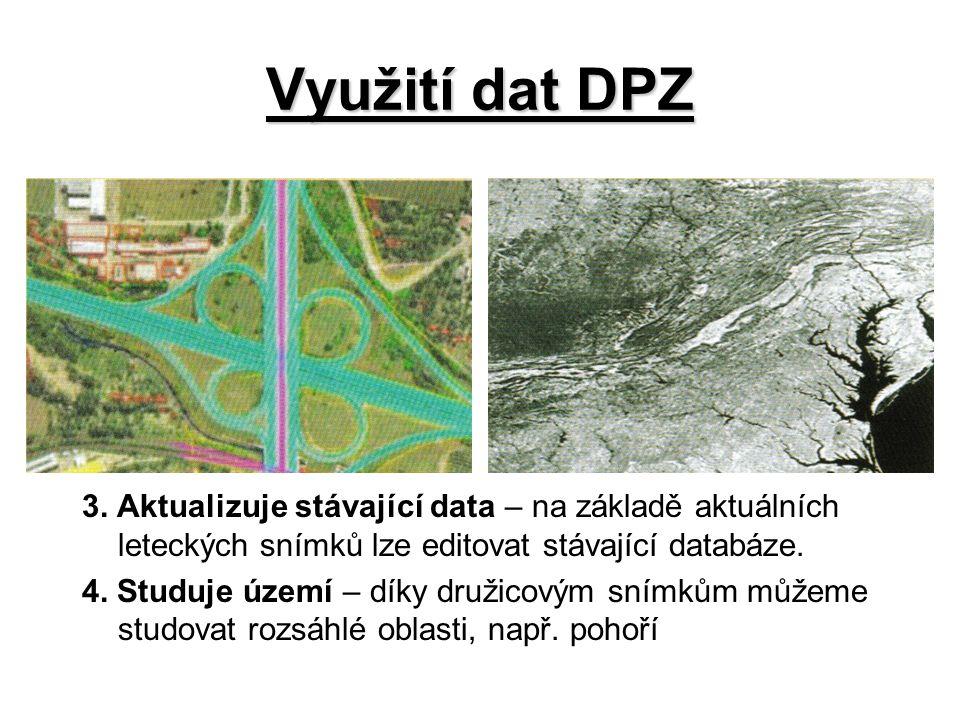 Využití dat DPZ 3. Aktualizuje stávající data – na základě aktuálních leteckých snímků lze editovat stávající databáze.
