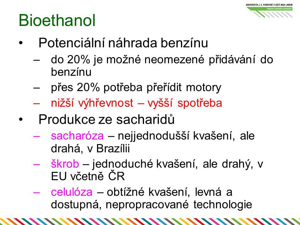 Bioethanol Potenciální náhrada benzínu Produkce ze sacharidů