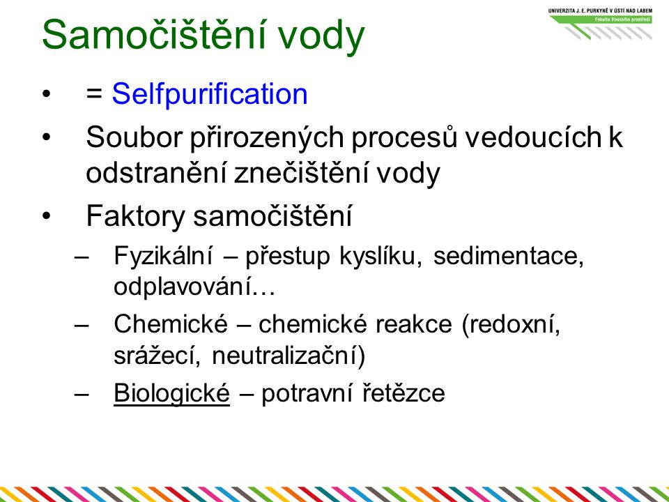 Samočištění vody = Selfpurification