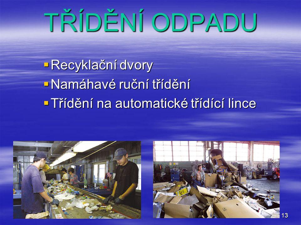 TŘÍDĚNÍ ODPADU Recyklační dvory Namáhavé ruční třídění