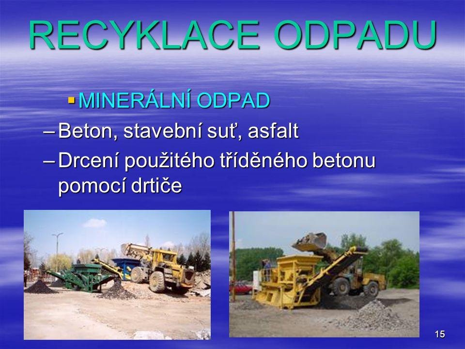RECYKLACE ODPADU MINERÁLNÍ ODPAD Beton, stavební suť, asfalt