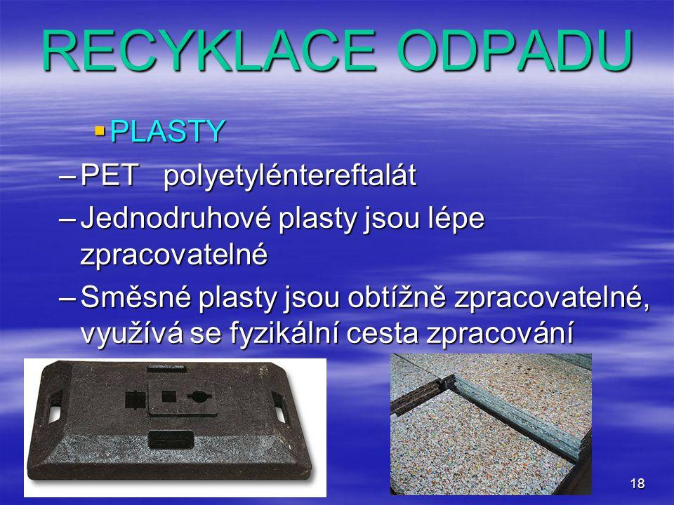 RECYKLACE ODPADU PLASTY PET polyetyléntereftalát