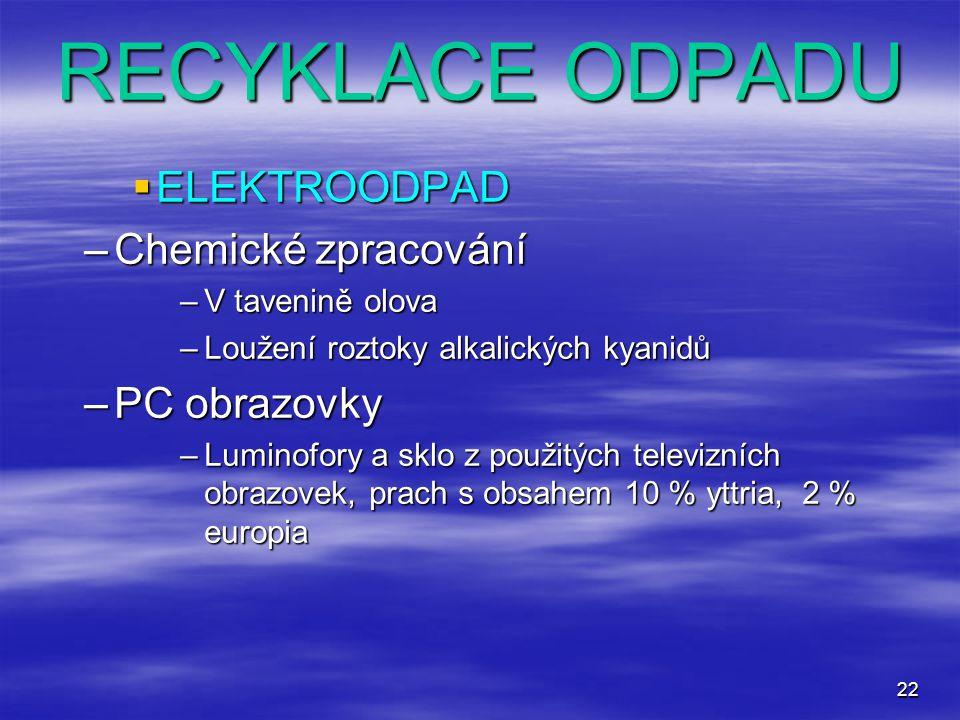 RECYKLACE ODPADU ELEKTROODPAD Chemické zpracování PC obrazovky