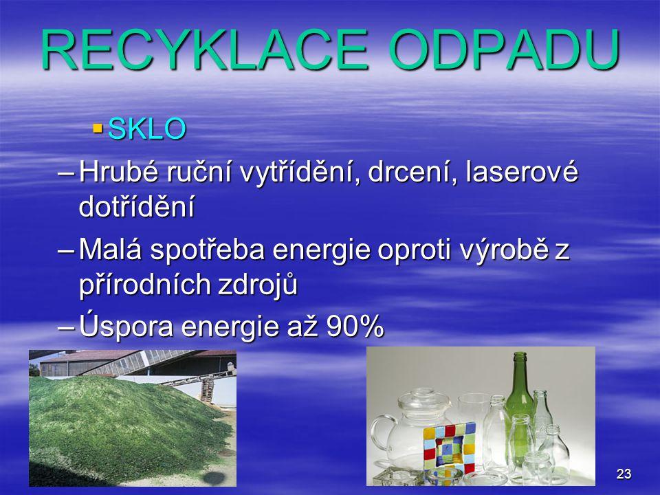 RECYKLACE ODPADU SKLO. Hrubé ruční vytřídění, drcení, laserové dotřídění. Malá spotřeba energie oproti výrobě z přírodních zdrojů.