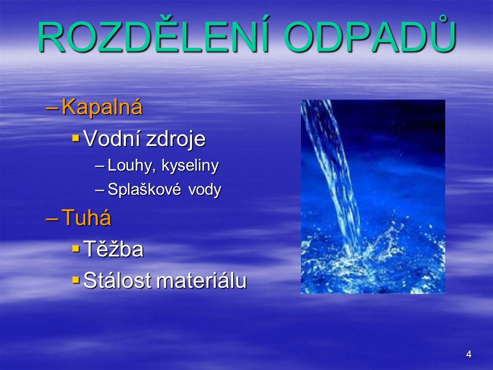 ROZDĚLENÍ ODPADŮ Kapalná Vodní zdroje Tuhá Těžba Stálost materiálu