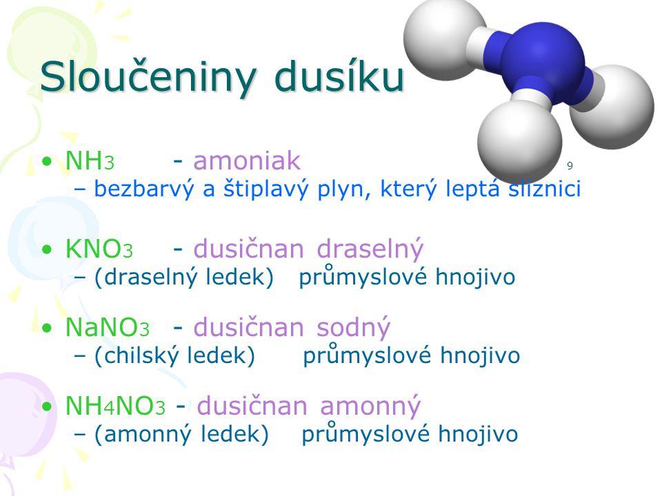 Sloučeniny dusíku NH3 - amoniak 9 KNO3 - dusičnan draselný