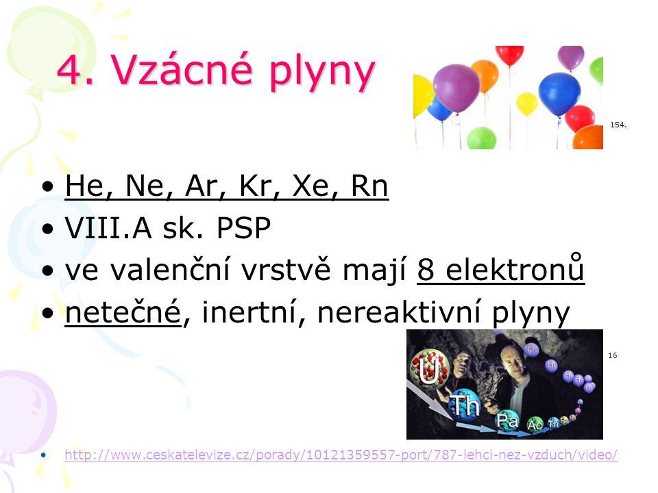 4. Vzácné plyny 154. He, Ne, Ar, Kr, Xe, Rn VIII.A sk. PSP