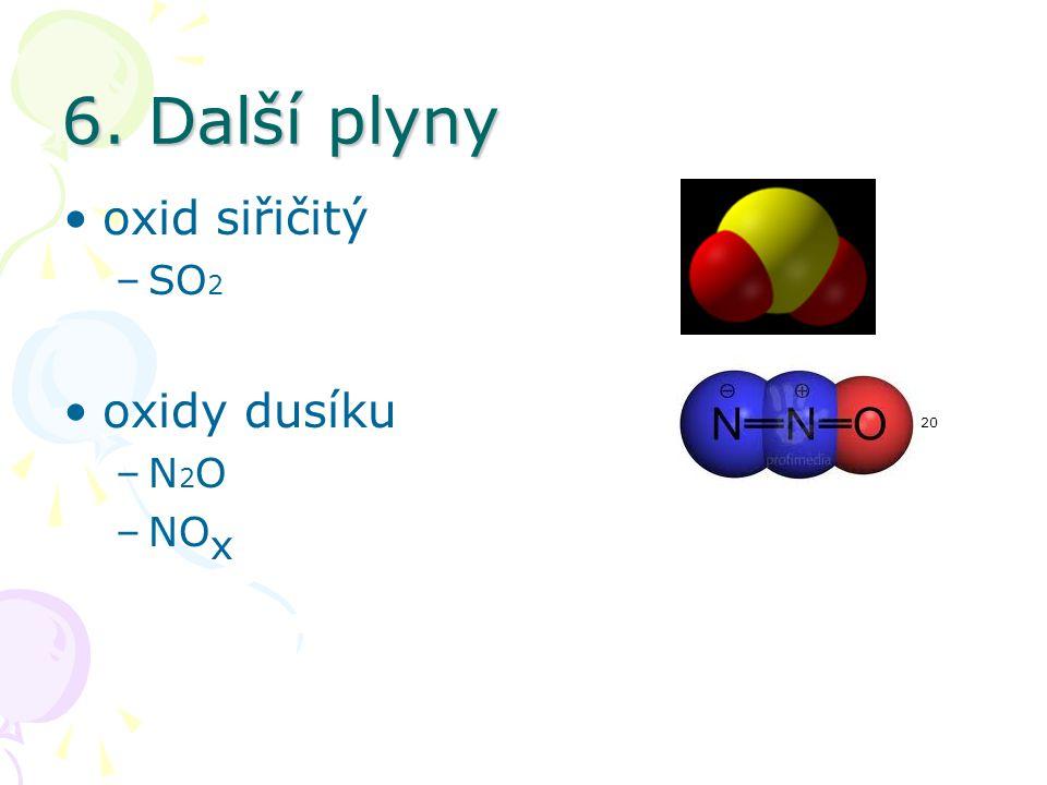 6. Další plyny oxid siřičitý SO2 19 oxidy dusíku 20 N2O NOx