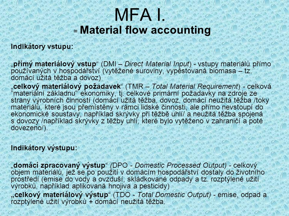 = Material flow accounting