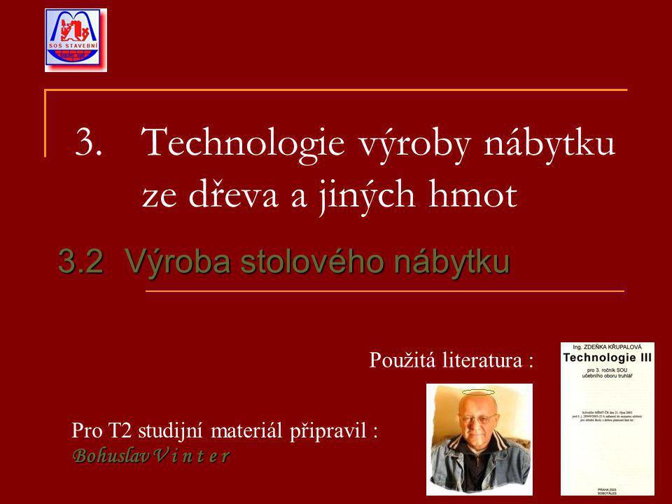 3. Technologie výroby nábytku ze dřeva a jiných hmot