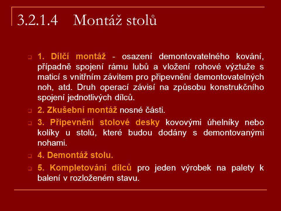 3.2.1.4 Montáž stolů