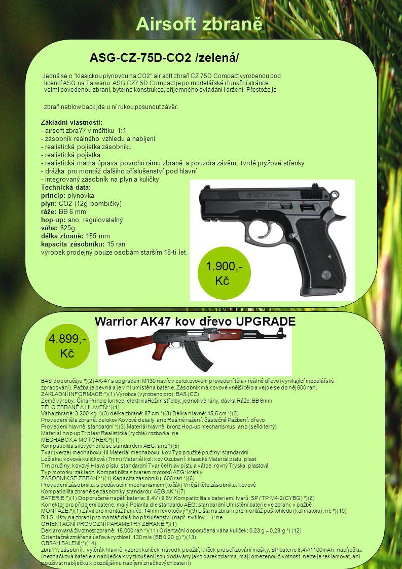 Airsoft zbraně ASG-CZ-75D-CO2 /zelená/ 1.900,- Kč