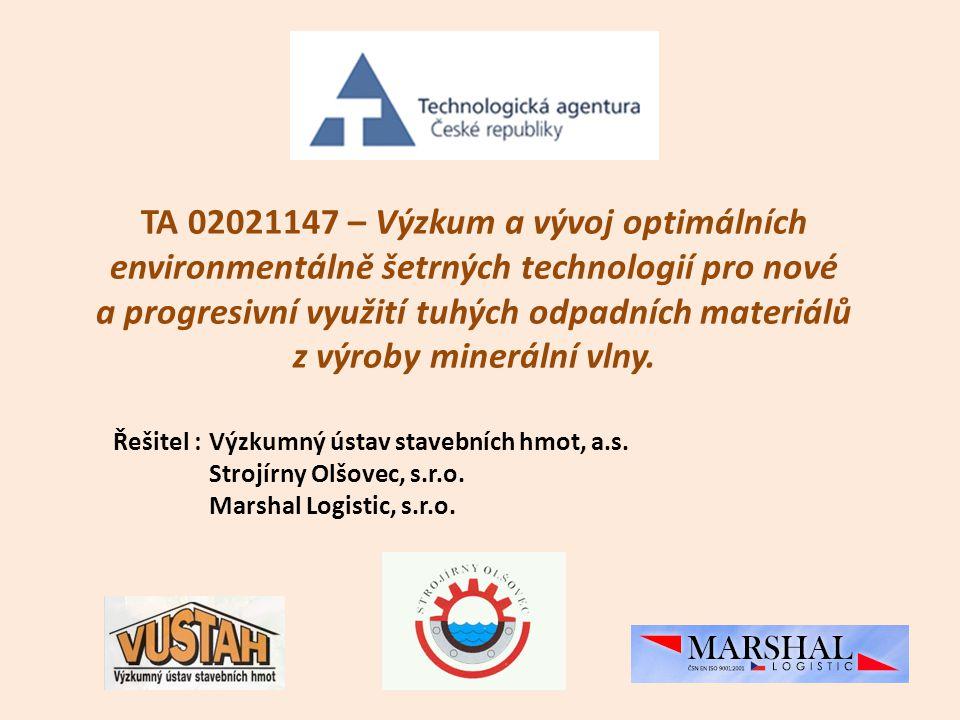 TA 02021147 – Výzkum a vývoj optimálních environmentálně šetrných technologií pro nové a progresivní využití tuhých odpadních materiálů z výroby minerální vlny.