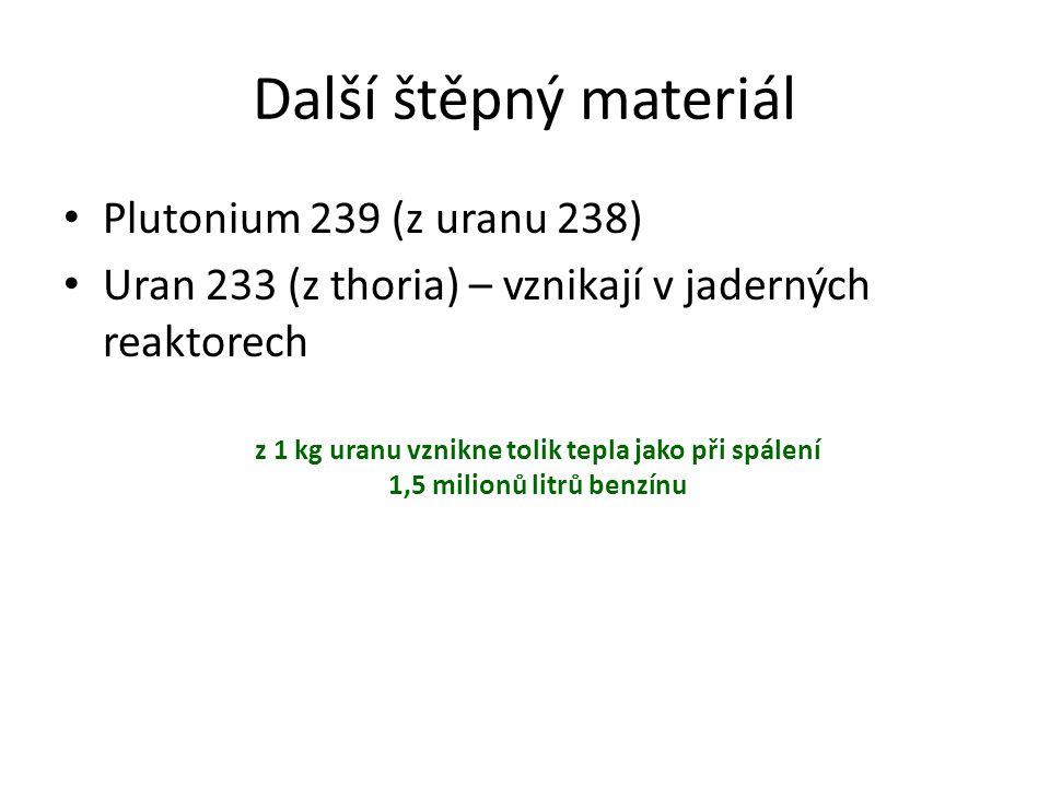 Další štěpný materiál Plutonium 239 (z uranu 238)