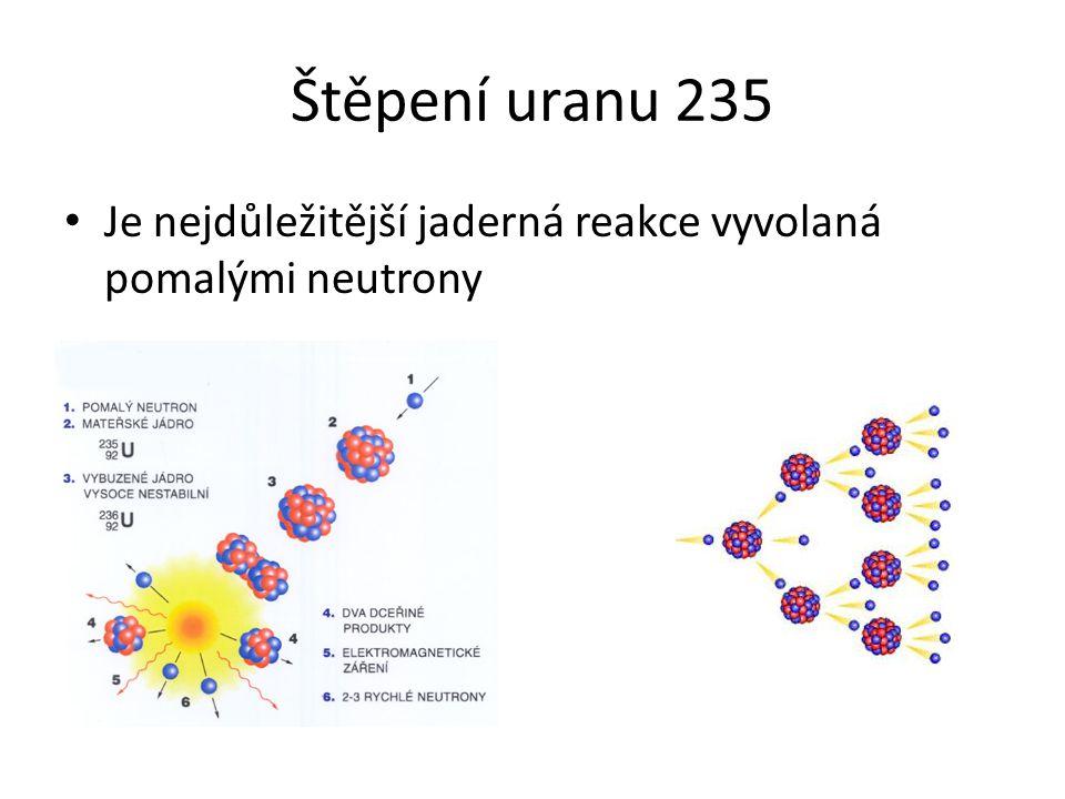 Štěpení uranu 235 Je nejdůležitější jaderná reakce vyvolaná pomalými neutrony