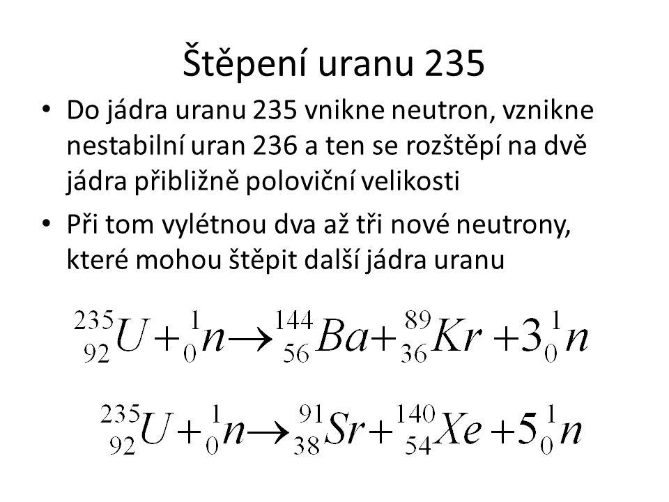 Štěpení uranu 235 Do jádra uranu 235 vnikne neutron, vznikne nestabilní uran 236 a ten se rozštěpí na dvě jádra přibližně poloviční velikosti.