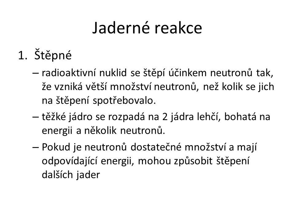 Jaderné reakce Štěpné.