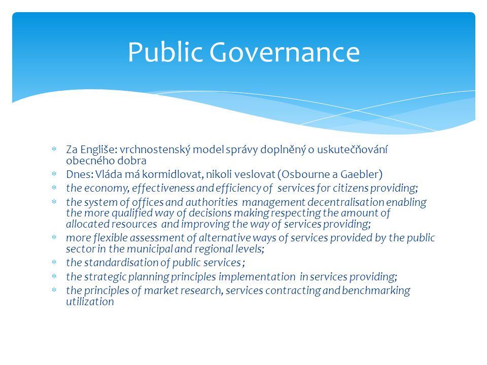 Public Governance Za Engliše: vrchnostenský model správy doplněný o uskutečňování obecného dobra.