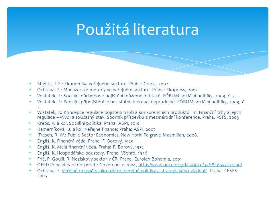 Použitá literatura Stiglitz, J. E.: Ekonomika veřejného sektoru. Praha: Grada, 2002.