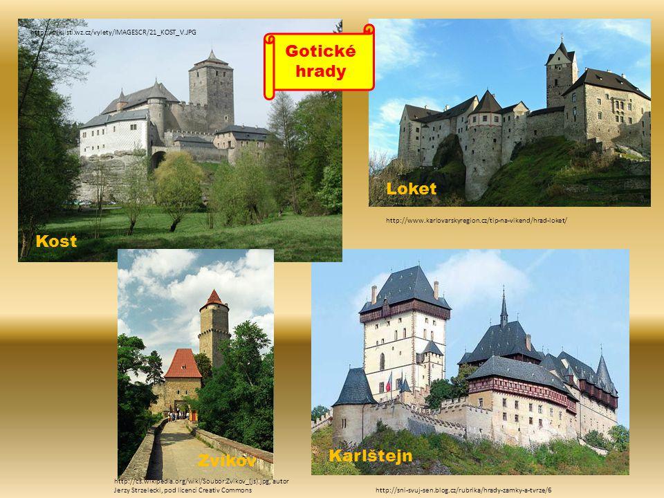 Gotické hrady Loket Kost Karlštejn Zvíkov