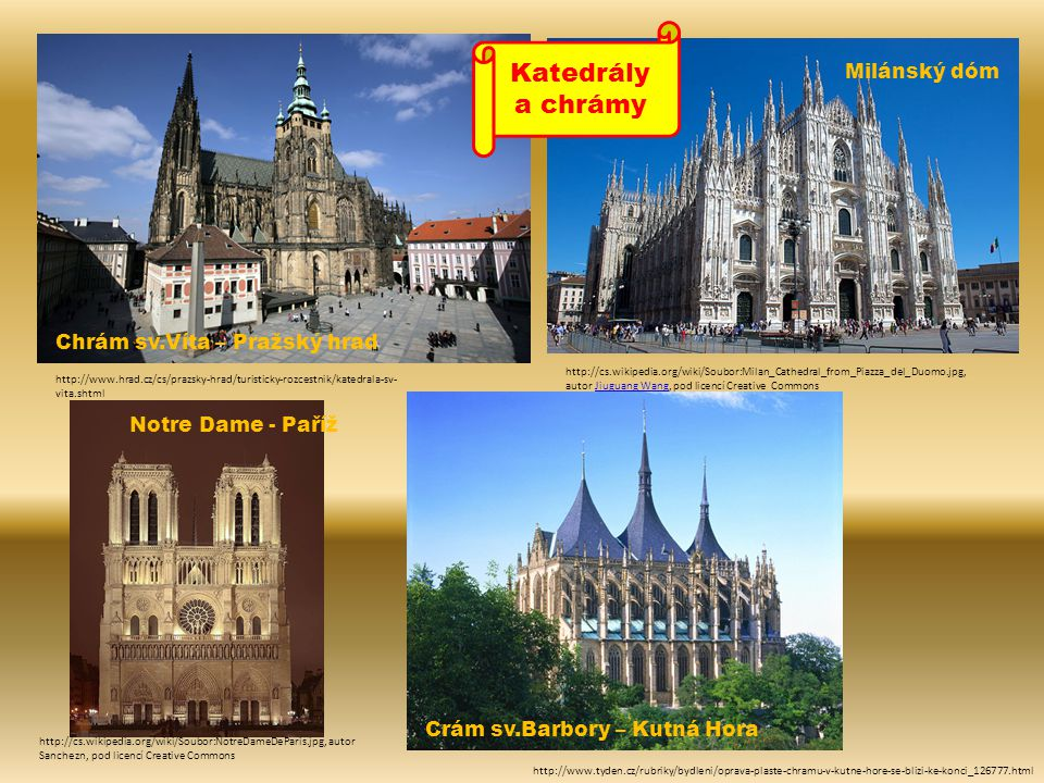Katedrály a chrámy Milánský dóm Chrám sv.Víta – Pražský hrad