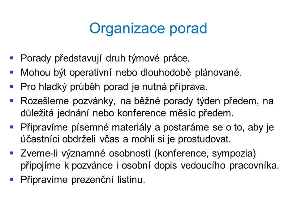 Organizace porad Porady představují druh týmové práce.
