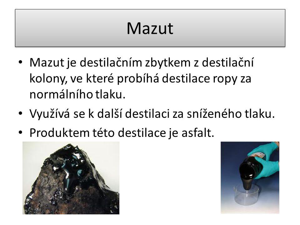 Mazut Mazut je destilačním zbytkem z destilační kolony, ve které probíhá destilace ropy za normálního tlaku.