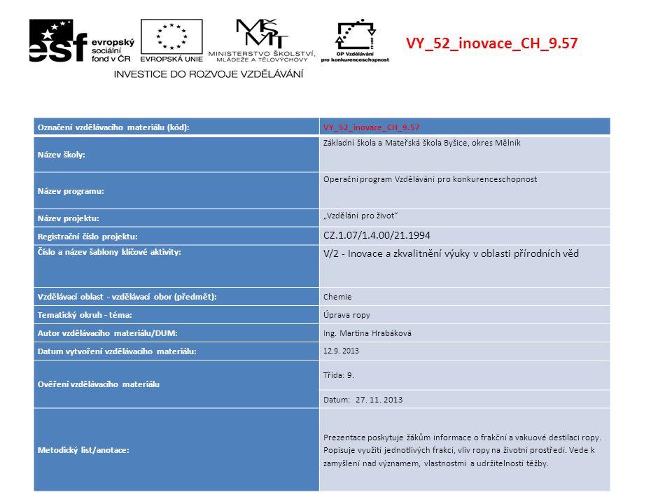 VY_52_inovace_CH_9.57 Označení vzdělávacího materiálu (kód): VY_52_inovace_CH_9.57. Název školy: